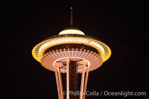Space Needle at night. Seattle, Washington, USA, natural history stock photograph, photo id 13668
