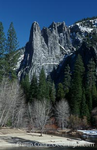 Sentinel Rock and Merced River, Yosemite Valley, Yosemite National Park, California