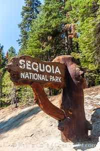 Sequoia National Park entry sign, Sequoia Kings Canyon National Park, California