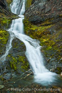 Shackleton Falls, named for explorer Sir Ernest Shackleton, formed from glacial meltwaters, near Stromness Bay. Stromness Harbour, South Georgia Island, natural history stock photograph, photo id 24588
