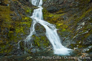 Shackleton Falls, named for explorer Sir Ernest Shackleton, formed from glacial meltwaters, near Stromness Bay. Stromness Harbour, South Georgia Island, natural history stock photograph, photo id 24612