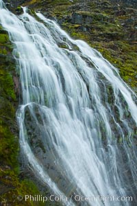 Shackleton Falls, named for explorer Sir Ernest Shackleton, formed from glacial meltwaters, near Stromness Bay. Stromness Harbour, South Georgia Island, natural history stock photograph, photo id 24638