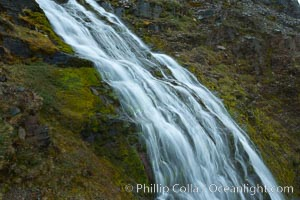 Shackleton Falls, named for explorer Sir Ernest Shackleton, formed from glacial meltwaters, near Stromness Bay. Stromness Harbour, South Georgia Island, natural history stock photograph, photo id 24639