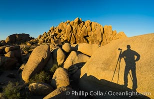Self portrait in shadow, Jumbo Rocks, Joshua Tree National Park. Joshua Tree National Park, California, USA, natural history stock photograph, photo id 29183