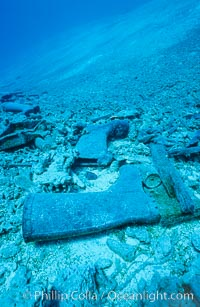 Debris from wreck of F/V Jin Shiang Fa, lagoon floor and talus slope, Rose Atoll National Wildlife Sanctuary