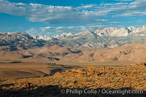 Sierra Nevada mountain range viewed from Volcanic Tablelands, near Bishop, California