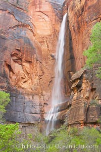 Waterfall at Temple of Sinawava during peak flow following spring rainstorm.  Zion Canyon, Zion National Park, Utah