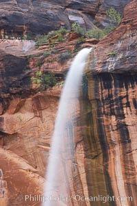 Ephemeral waterfall in Zion Canyon above Weeping Rock.  These falls last only a few hours following rain burst.  Zion Canyon, Zion National Park, Utah
