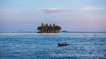 Skiff and Palm Trees, Sunrise, Clipperton Island