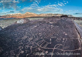 Sky Rock petroglyphs near Bishop, California.  Hidden atop on of the enormous boulders of the Volcanic Tablelands lies Sky Rock, a set of petroglyphs that face the sky.  These superb examples of native American petroglyph artwork are thought to be Paiute in origin, but little is known about them