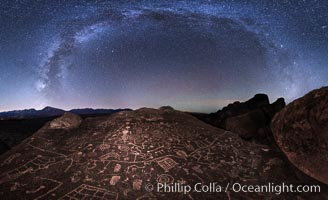The Milky Way at Night over Sky Rock, panorama, spherical projection.  Sky Rock petroglyphs near Bishop, California. Hidden atop an enormous boulder in the Volcanic Tablelands lies Sky Rock, a set of petroglyphs that face the sky. These superb examples of native American petroglyph artwork are thought to be Paiute in origin, but little is known about them. Bishop, California, USA, natural history stock photograph, photo id 28799
