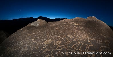 Sunset, planet Venus and stars over Sky Rock.  Sky Rock petroglyphs near Bishop, California. Hidden atop an enormous boulder in the Volcanic Tablelands lies Sky Rock, a set of petroglyphs that face the sky. These superb examples of native American petroglyph artwork are thought to be Paiute in origin, but little is known about them