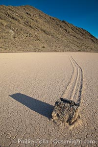 A sliding rock of the Racetrack Playa.  The sliding rocks, or sailing stones, move across the mud flats of the Racetrack Playa, leaving trails behind in the mud.  The explanation for their movement is not known with certainty, but many believe wind pushes the rocks over wet and perhaps icy mud in winter. Death Valley National Park, California, USA, natural history stock photograph, photo id 25243