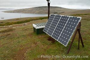 Solar electric panels, used to generate electricity on remote Westpoint Island in the Falklands. Westpoint Island, Falkland Islands, United Kingdom, natural history stock photograph, photo id 23955