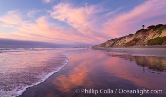 South Carlsbad State Beach sunset, beautiful clouds and soft colors