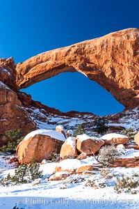 South Window, eastern face, sunrise, winter, Arches National Park, Utah