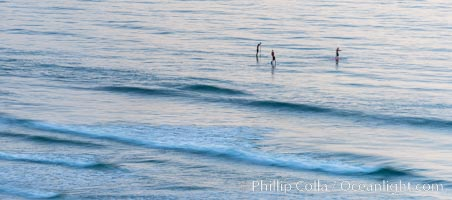 Standup paddleboarders at sunset, Del Mar, California
