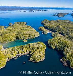 Staples and Kent Islands, British Columbia, aerial photo