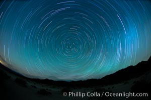 Star trails, rotating around the North Star (Polaris), seen from Death Valley