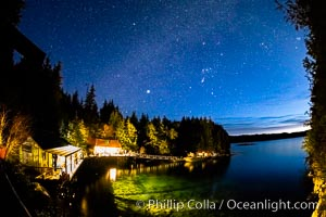 Stars at night over Hurst Island, Gods Pocket Resort. British Columbia, Canada, natural history stock photograph, photo id 35272