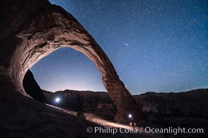 Stars over Corona Arch at Night, Moab, Utah. USA, natural history stock photograph, photo id 29242