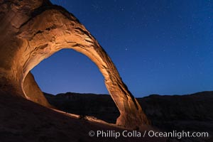 Stars over Corona Arch at Night, Moab, Utah. Corona Arch, Moab, Utah, USA, natural history stock photograph, photo id 29243