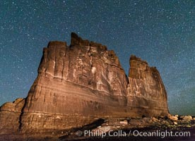 Stars over the Organ, Arches National Park. Courthouse Towers, Arches National Park, Utah, USA, natural history stock photograph, photo id 29272