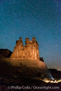 Stars over the Three Gossips, Arches National Park. Courthouse Towers, Arches National Park, Utah, USA, natural history stock photograph, photo id 29270
