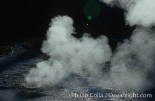 Steam rises a geyser on Geyser Hill, Upper Geyser Basin, Yellowstone National Park, Wyoming