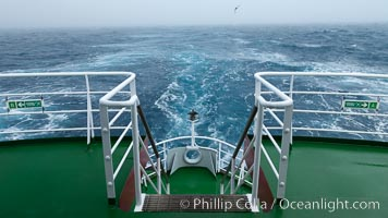 Stern of the M/V Polar Star, foggy weather, sea birds flying in the wake of the ship, at sea