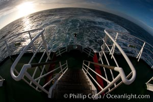 Stern stairs and wake of the M/V Polar Star. Southern Ocean, natural history stock photograph, photo id 24168
