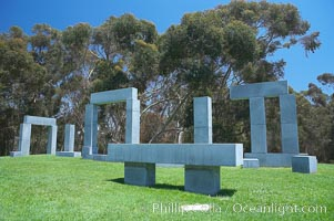 Stonehenge, or what is officially known as the La Jolla Project, was the third piece in the Stuart Collection at University of California San Diego (UCSD).  Commissioned in 1984 and produced by Richard Fleishner, the granite blocks are spread on the lawn south of Galbraith Hall on Revelle College at UCSD. University of California, San Diego, La Jolla, California, USA, natural history stock photograph, photo id 12847