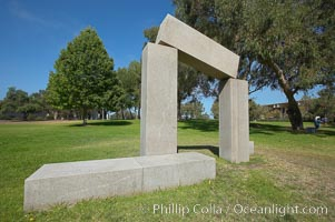 Stonehenge, or what is officially known as the La Jolla Project, was the third piece in the Stuart Collection at University of California San Diego (UCSD).  Commissioned in 1984 and produced by Richard Fleishner, the granite blocks are spread on the lawn south of Galbraith Hall on Revelle College at UCSD. University of California, San Diego, La Jolla, California, USA, natural history stock photograph, photo id 21222