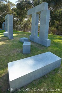 Stonehenge, or what is officially known as the La Jolla Project, was the third piece in the Stuart Collection at University of California San Diego (UCSD).  Commissioned in 1984 and produced by Richard Fleishner, the granite blocks are spread on the lawn south of Galbraith Hall on Revelle College at UCSD. University of California, San Diego, La Jolla, California, USA, natural history stock photograph, photo id 21223