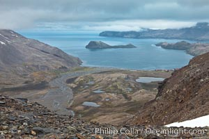 Looking down on Stromness Bay from the pass high above. Stromness Harbour, South Georgia Island, natural history stock photograph, photo id 24640