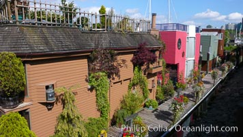 Stylish floating homes at Granville Island, Vancouver
