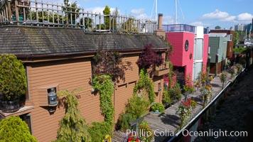 Stylish floating homes at Granville Island, Vancouver. British Columbia, Canada, natural history stock photograph, photo id 21196