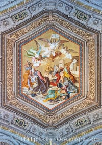 Ceiling painting of angels holding up the Summa contra Gentiles by St Thomas Aquinas, at The Gallery of Maps in the Vatican Museums. Vatican City, Rome, Italy, natural history stock photograph, photo id 35591