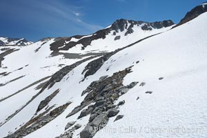 Summer snow pack, Whistler Mountain. British Columbia, Canada, natural history stock photograph, photo id 21021