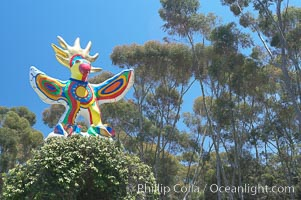 Sun God is a strange artwork, the first in the Stuart Collection at University of California San Diego (UCSD).  Commissioned in 1983 and produced by Niki de Sainte Phalle, Sun God has become a landmark on the UCSD campus. University of California, San Diego, La Jolla, USA, natural history stock photograph, photo id 12835