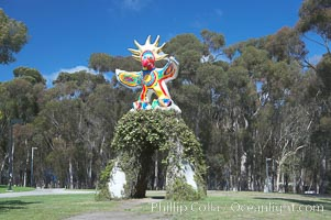 Sun God is a strange artwork, the first in the Stuart Collection at University of California San Diego (UCSD).  Commissioned in 1983 and produced by Niki de Sainte Phalle, Sun God has become a landmark on the UCSD campus. University of California, San Diego, La Jolla, USA, natural history stock photograph, photo id 12838