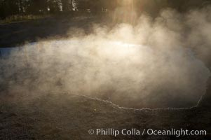 Sunlight and steam, early morning, Lower Geyser Basin, Yellowstone National Park, Wyoming