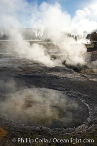 Sunlight and steam, early morning. Lower Geyser Basin, Yellowstone National Park, Wyoming, USA, natural history stock photograph, photo id 13568