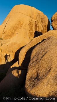 Sunrise on stone boulders, Joshua Tree National Park, desert southwest, photographer's shadow