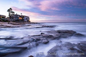 Sunrise Clouds and Surf, Hospital Point, La Jolla. La Jolla, California, USA, natural history stock photograph, photo id 28829