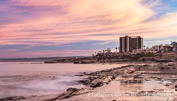 Sunrise Clouds and Surf, Hospital Point, La Jolla. California, USA, natural history stock photograph, photo id 28831