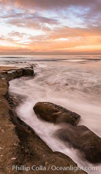 Sunrise Clouds and Surf, Hospital Point, La Jolla. California, USA, natural history stock photograph, photo id 28832