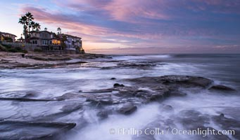 Sunrise Clouds and Surf, Hospital Point, La Jolla. California, USA, natural history stock photograph, photo id 28834