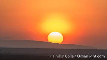 Sunrise and sun pillar, greater Maasai Mara, Kenya, Maasai Mara National Reserve