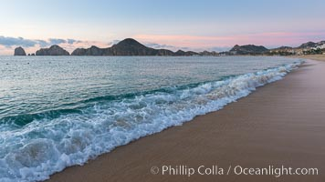 Sunrise on Medano Beach, on the coast of Cabo San Lucas, Mexico